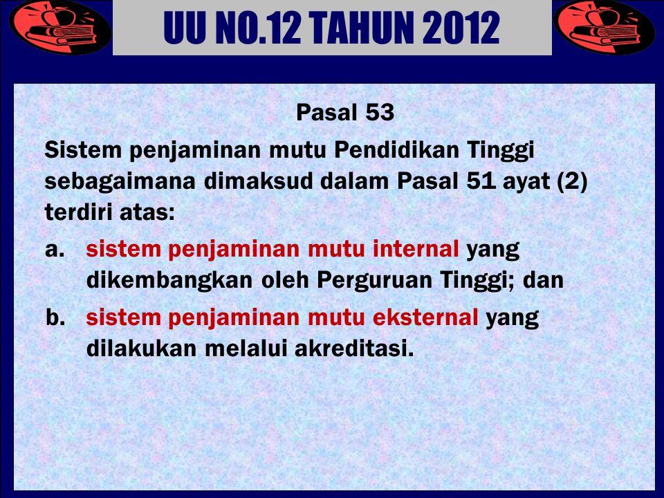 Pasal 53 Sistem penjaminan mutu Pendidikan Tinggi sebagaimana dimaksud dalam Pasal 51 ayat (2) terdiri atas: a.