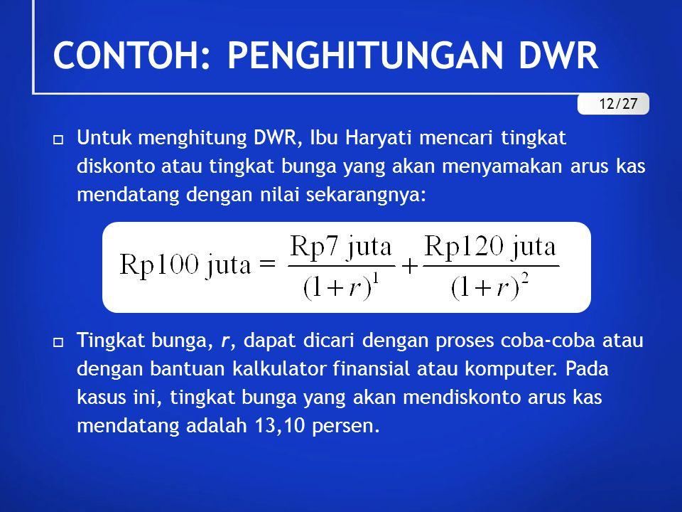  Untuk menghitung DWR, Ibu Haryati mencari tingkat diskonto atau tingkat bunga yang akan menyamakan arus kas mendatang dengan nilai sekarangnya:  Ti