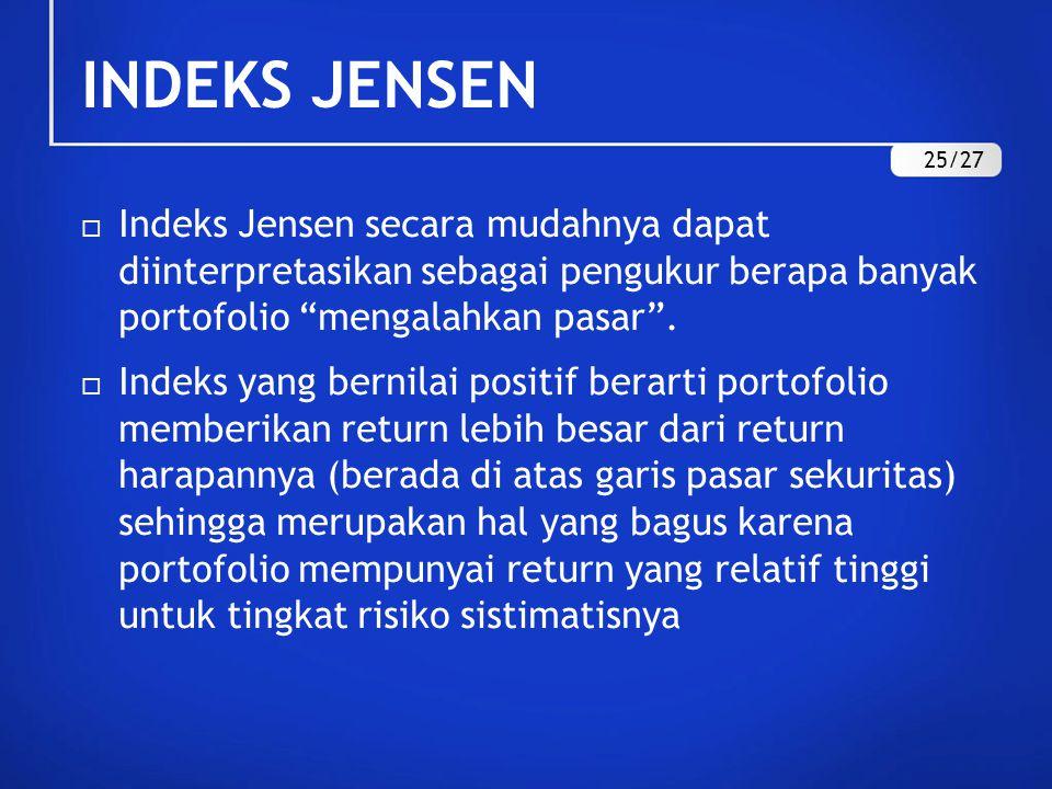 """INDEKS JENSEN  Indeks Jensen secara mudahnya dapat diinterpretasikan sebagai pengukur berapa banyak portofolio """"mengalahkan pasar"""".  Indeks yang ber"""