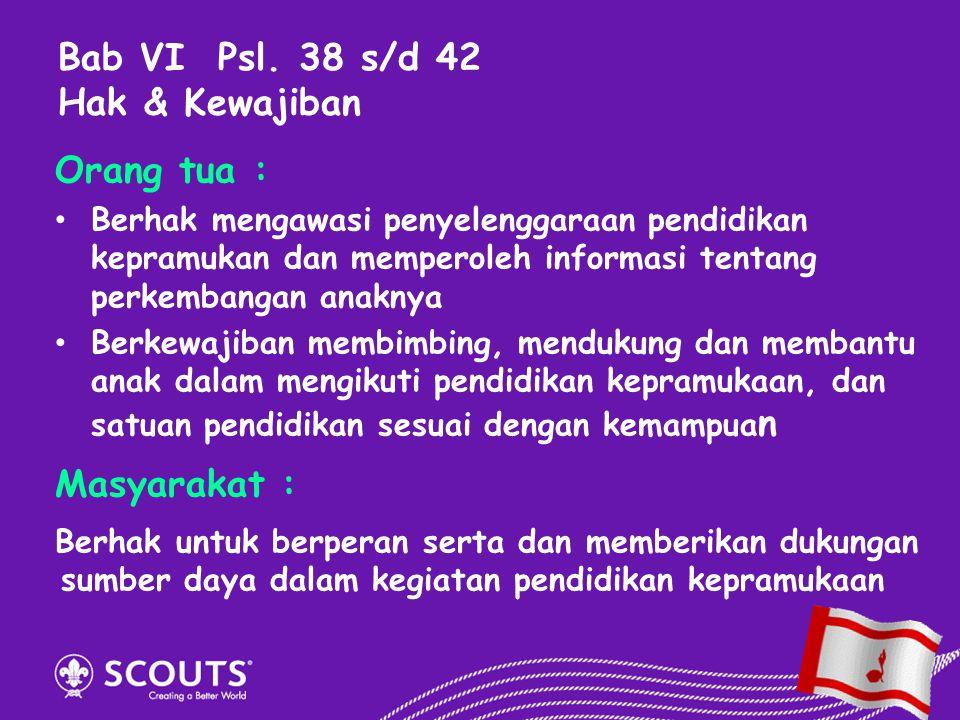 Orang tua : Berhak mengawasi penyelenggaraan pendidikan kepramukan dan memperoleh informasi tentang perkembangan anaknya Berkewajiban membimbing, mend