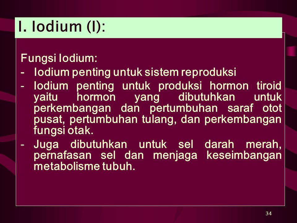 34 Fungsi Iodium: - Iodium penting untuk sistem reproduksi -Iodium penting untuk produksi hormon tiroid yaitu hormon yang dibutuhkan untuk perkembangan dan pertumbuhan saraf otot pusat, pertumbuhan tulang, dan perkembangan fungsi otak.