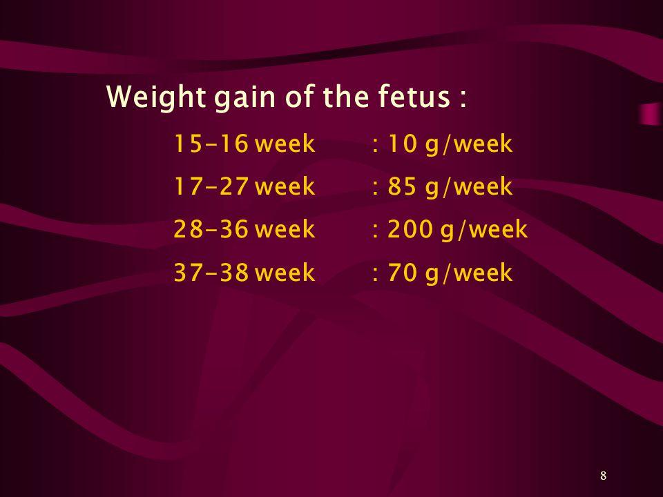 8 Weight gain of the fetus : 15-16 week: 10 g/week 17-27 week: 85 g/week 28-36 week: 200 g/week 37-38 week: 70 g/week