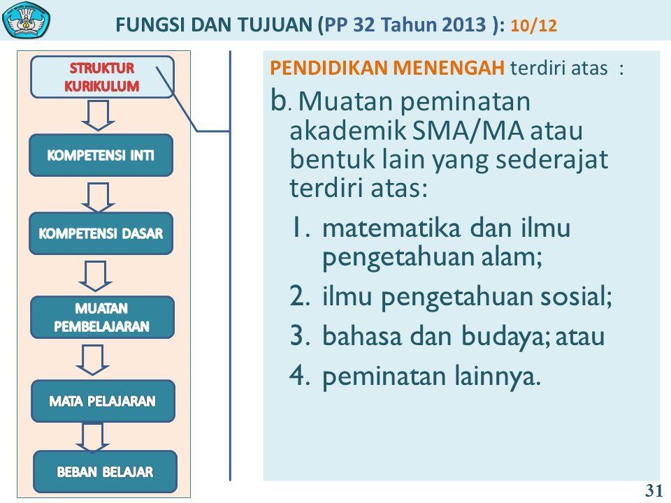 FUNGSI DAN TUJUAN (PP 32 Tahun 2013 ): 10/12 31 PENDIDIKAN MENENGAH terdiri atas : b.
