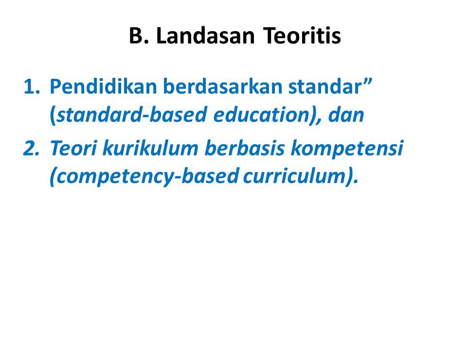 """B. Landasan Teoritis 1.Pendidikan berdasarkan standar"""" (standard-based education), dan 2.Teori kurikulum berbasis kompetensi (competency-based curricu"""