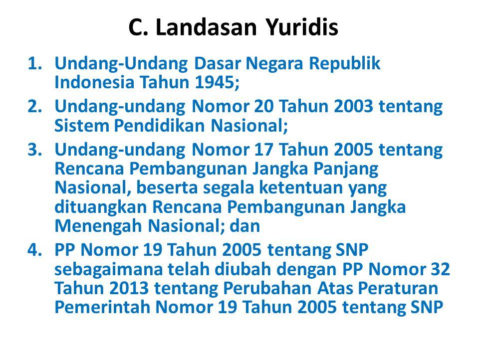 C. Landasan Yuridis 1.Undang-Undang Dasar Negara Republik Indonesia Tahun 1945; 2.Undang-undang Nomor 20 Tahun 2003 tentang Sistem Pendidikan Nasional