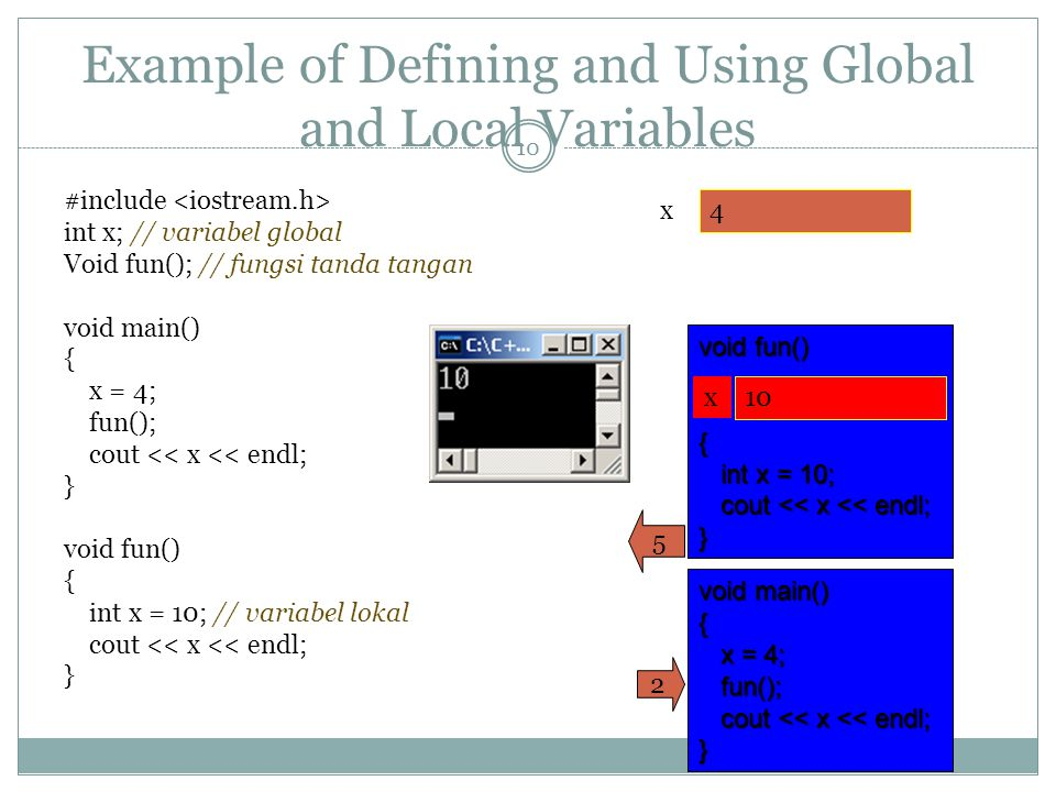 Example of Defining and Using Global and Local Variables #include // variabel global int x; // variabel global // fungsi tanda tangan Void fun(); // fungsi tanda tangan void main() { x = 4; fun(); cout << x << endl; } void fun() { // variabel lokal int x = 10; // variabel lokal cout << x << endl; } 10 x 4 void main() { x = 4; x = 4; fun(); fun(); cout << x << endl; cout << x << endl;} 2 void fun() { int x = 10; int x = 10; cout << x << endl; cout << x << endl;} x 10 5