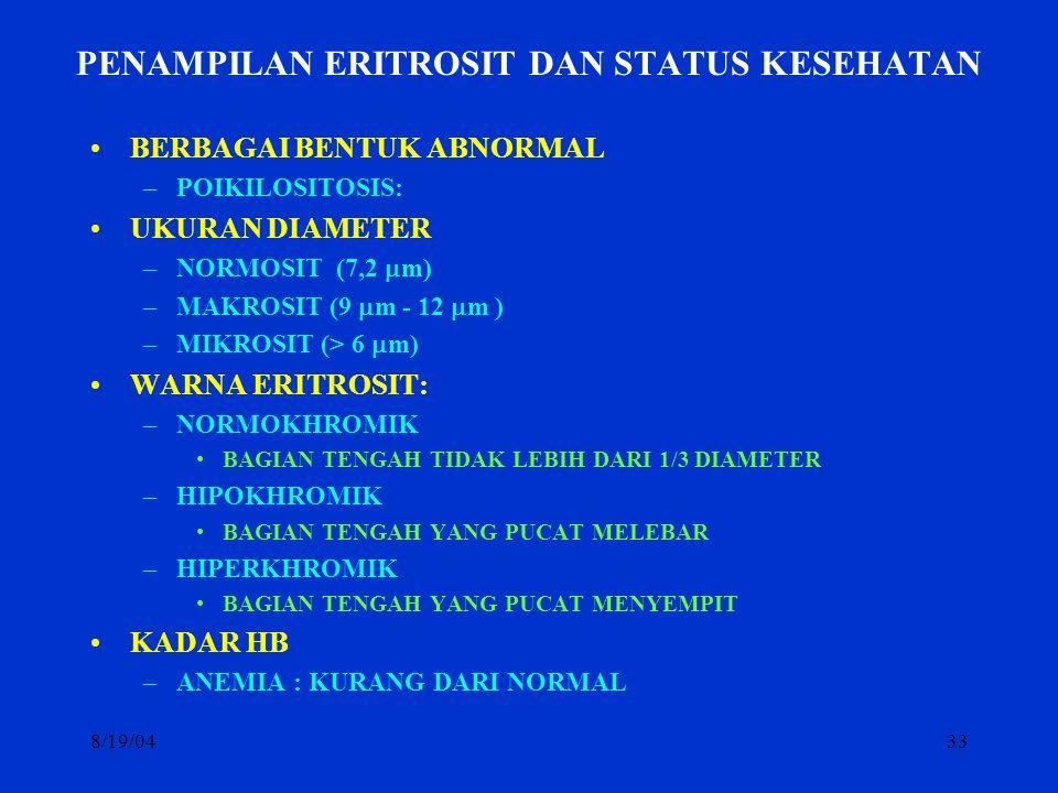 8/19/0433 PENAMPILAN ERITROSIT DAN STATUS KESEHATAN BERBAGAI BENTUK ABNORMAL –POIKILOSITOSIS: UKURAN DIAMETER –NORMOSIT (7,2  m) –MAKROSIT (9  m - 1