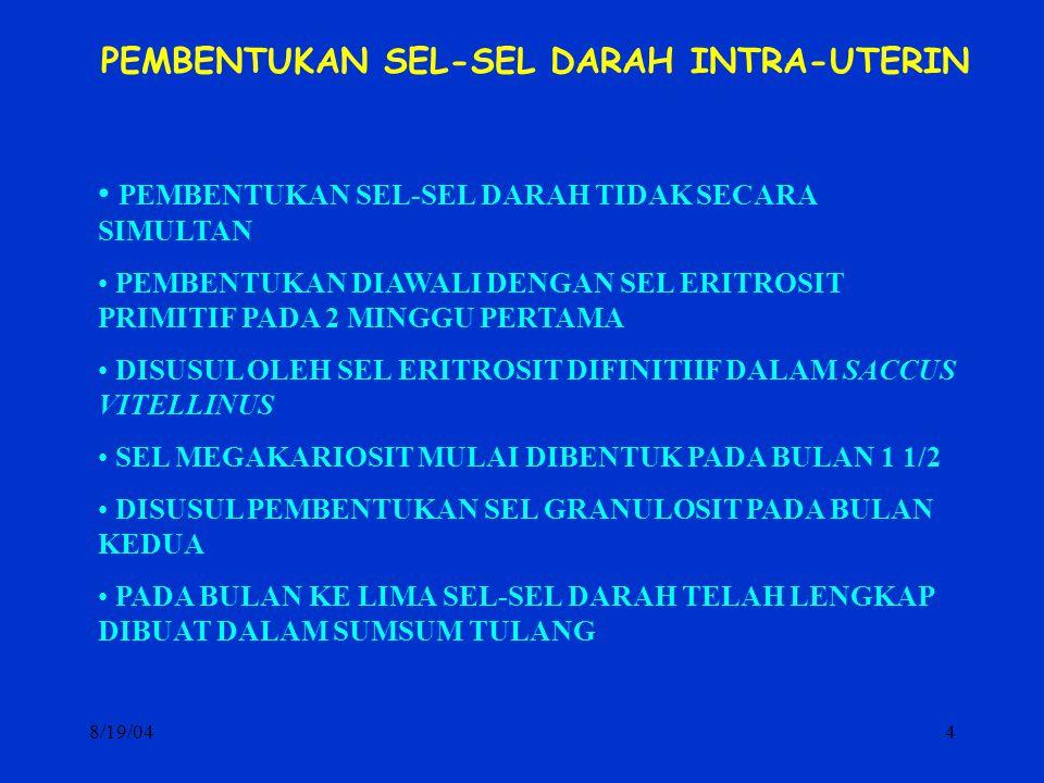 8/19/044 PEMBENTUKAN SEL-SEL DARAH INTRA-UTERIN PEMBENTUKAN SEL-SEL DARAH TIDAK SECARA SIMULTAN PEMBENTUKAN DIAWALI DENGAN SEL ERITROSIT PRIMITIF PADA