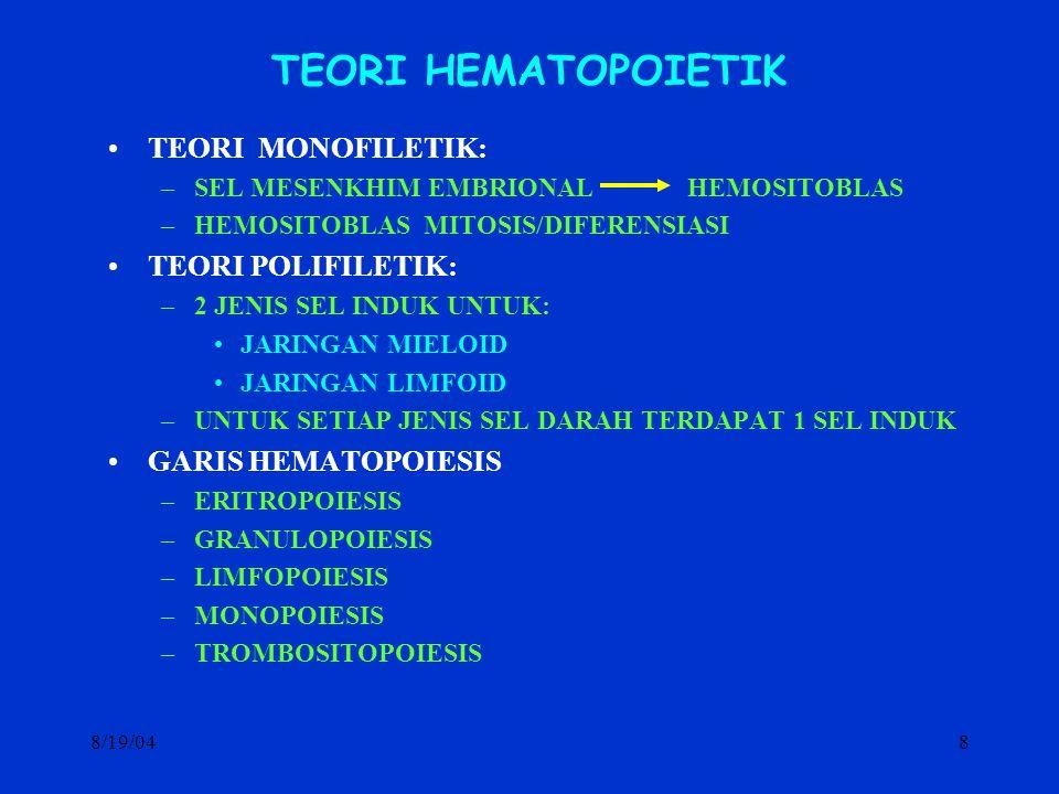 8/19/048 TEORI HEMATOPOIETIK TEORI MONOFILETIK: –SEL MESENKHIM EMBRIONAL HEMOSITOBLAS –HEMOSITOBLAS MITOSIS/DIFERENSIASI TEORI POLIFILETIK: –2 JENIS S