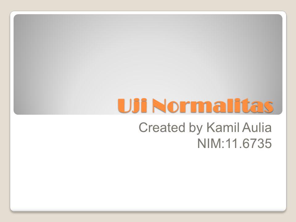 Uji Normalitas Created by Kamil Aulia NIM:11.6735