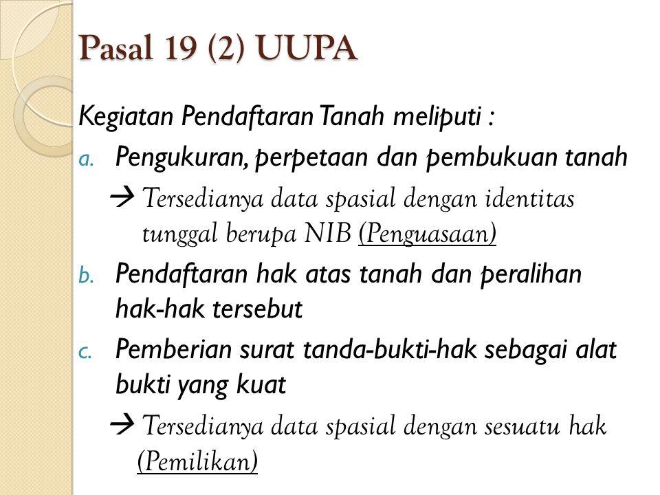 Pasal 19 (2) UUPA Kegiatan Pendaftaran Tanah meliputi : a. Pengukuran, perpetaan dan pembukuan tanah  Tersedianya data spasial dengan identitas tungg