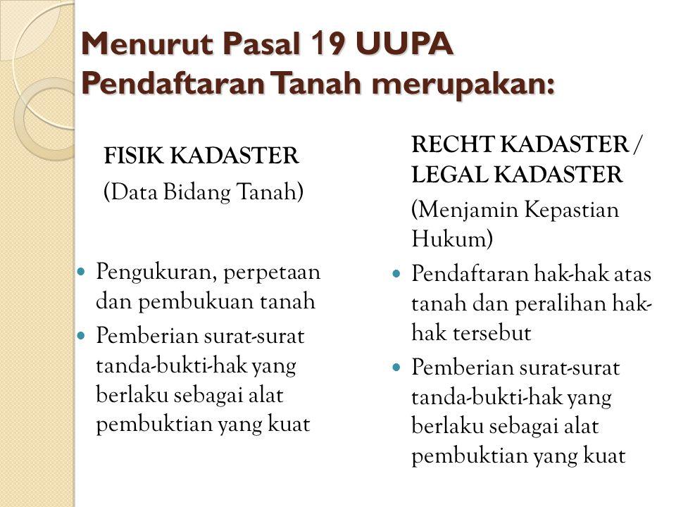 Menurut Pasal 1 9 UUPA Pendaftaran Tanah merupakan: FISIK KADASTER (Data Bidang Tanah) Pengukuran, perpetaan dan pembukuan tanah Pemberian surat-surat