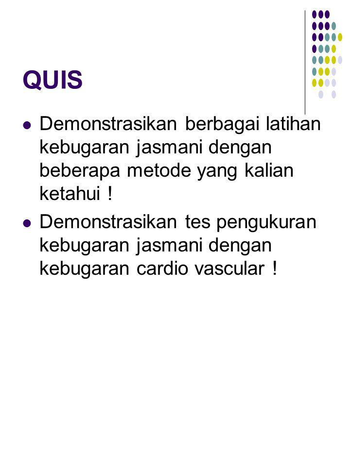QUIS Demonstrasikan berbagai latihan kebugaran jasmani dengan beberapa metode yang kalian ketahui ! Demonstrasikan tes pengukuran kebugaran jasmani de