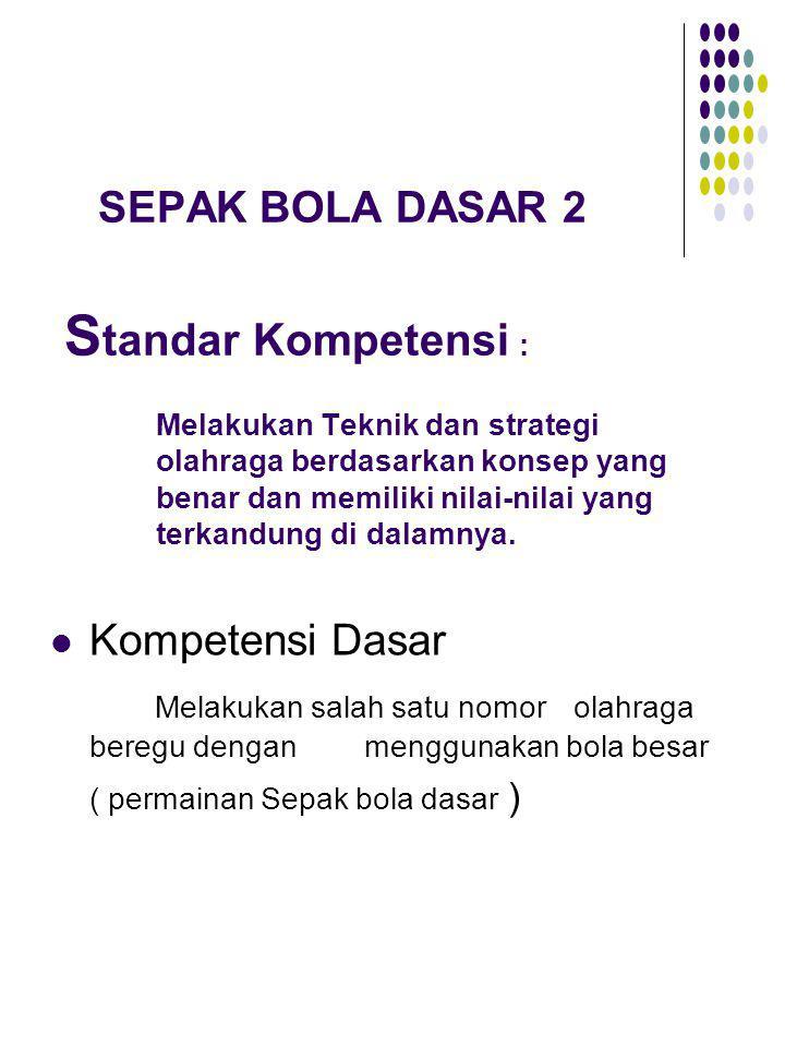SEPAK BOLA DASAR 2 S tandar Kompetensi : Melakukan Teknik dan strategi olahraga berdasarkan konsep yang benar dan memiliki nilai-nilai yang terkandung