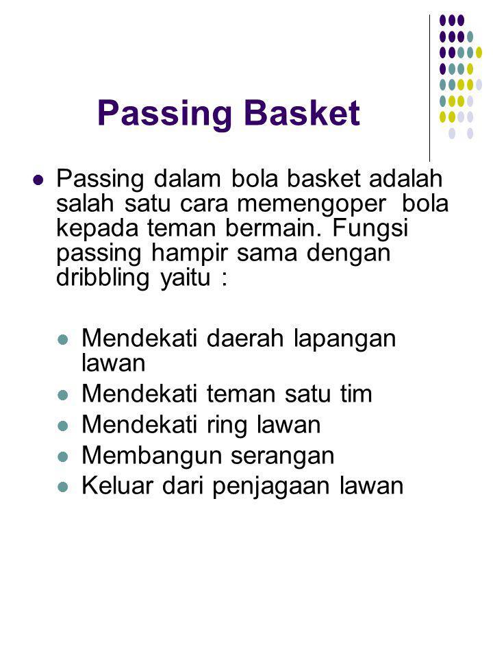 Passing Basket Passing dalam bola basket adalah salah satu cara memengoper bola kepada teman bermain. Fungsi passing hampir sama dengan dribbling yait