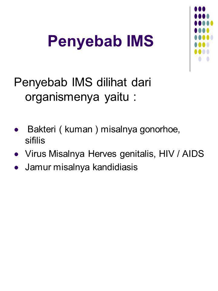 Penyebab IMS Penyebab IMS dilihat dari organismenya yaitu : Bakteri ( kuman ) misalnya gonorhoe, sifilis Virus Misalnya Herves genitalis, HIV / AIDS J