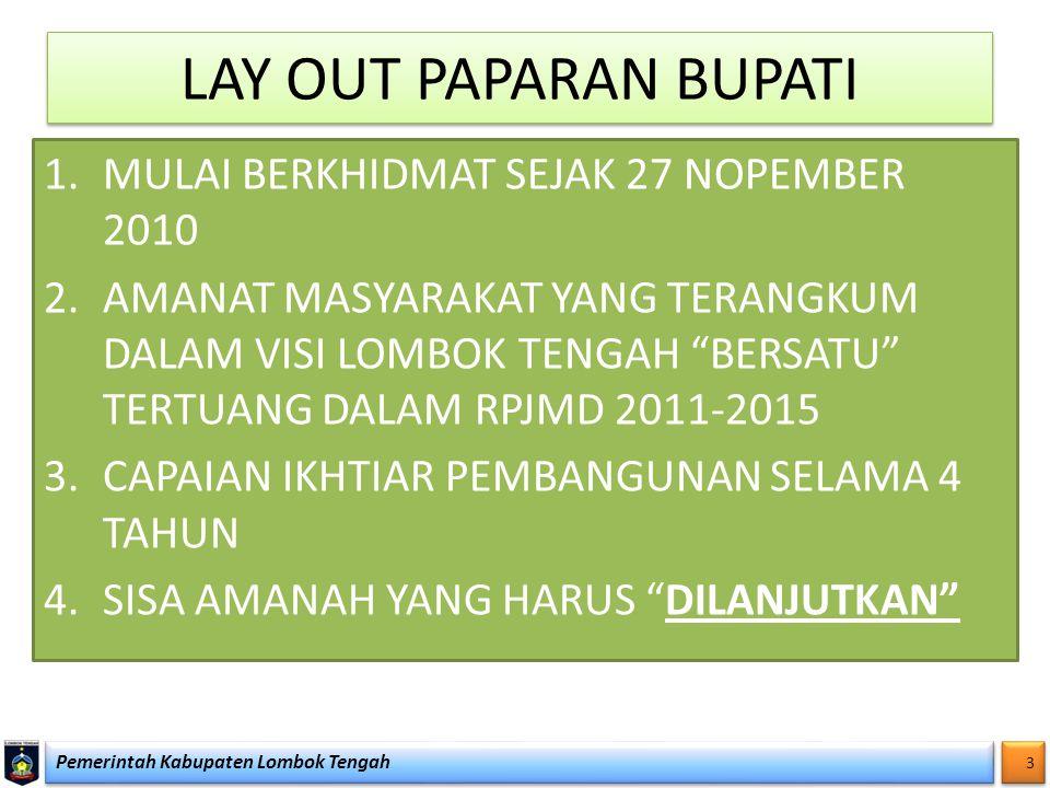 """LAY OUT PAPARAN BUPATI 1.MULAI BERKHIDMAT SEJAK 27 NOPEMBER 2010 2.AMANAT MASYARAKAT YANG TERANGKUM DALAM VISI LOMBOK TENGAH """"BERSATU"""" TERTUANG DALAM"""