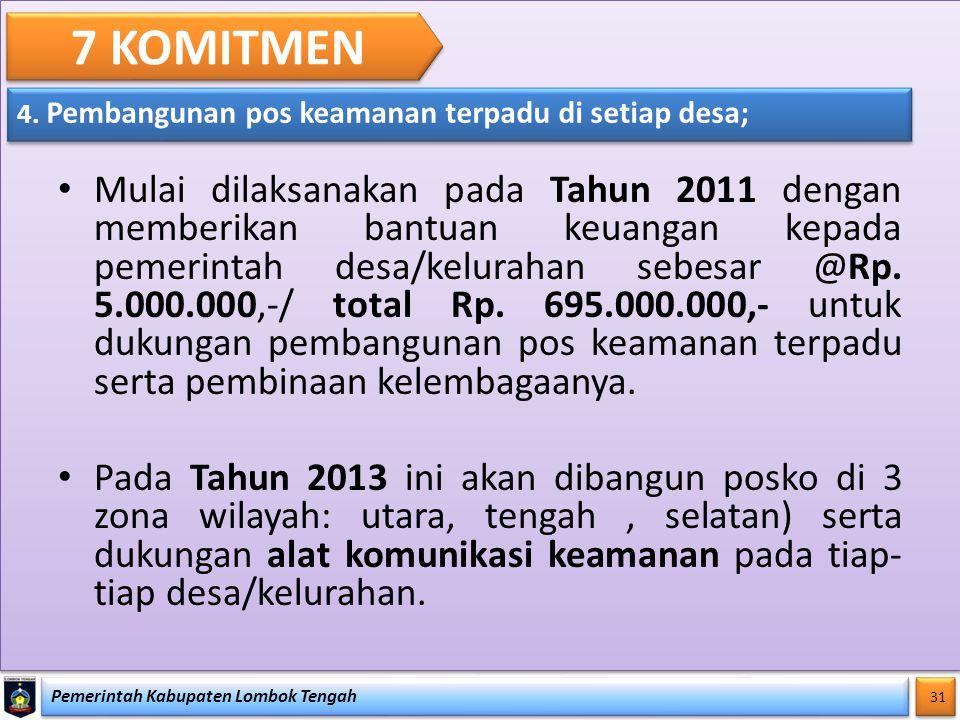 Pemerintah Kabupaten Lombok Tengah 31 7 KOMITMEN 4. Pembangunan pos keamanan terpadu di setiap desa; Mulai dilaksanakan pada Tahun 2011 dengan memberi
