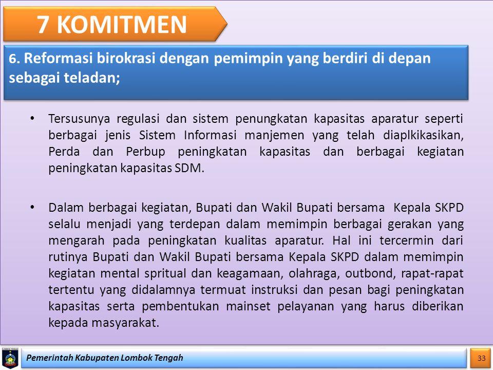 Pemerintah Kabupaten Lombok Tengah 33 7 KOMITMEN 6. Reformasi birokrasi dengan pemimpin yang berdiri di depan sebagai teladan; Tersusunya regulasi dan