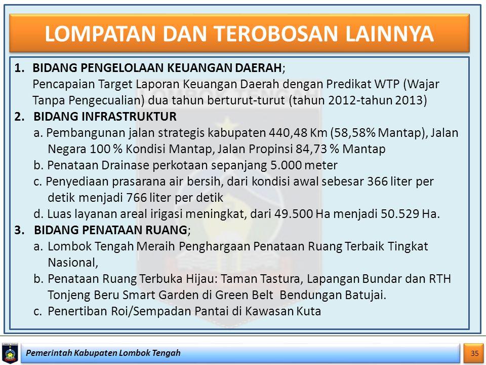 Pemerintah Kabupaten Lombok Tengah 35 LOMPATAN DAN TEROBOSAN LAINNYA 1.BIDANG PENGELOLAAN KEUANGAN DAERAH; Pencapaian Target Laporan Keuangan Daerah d