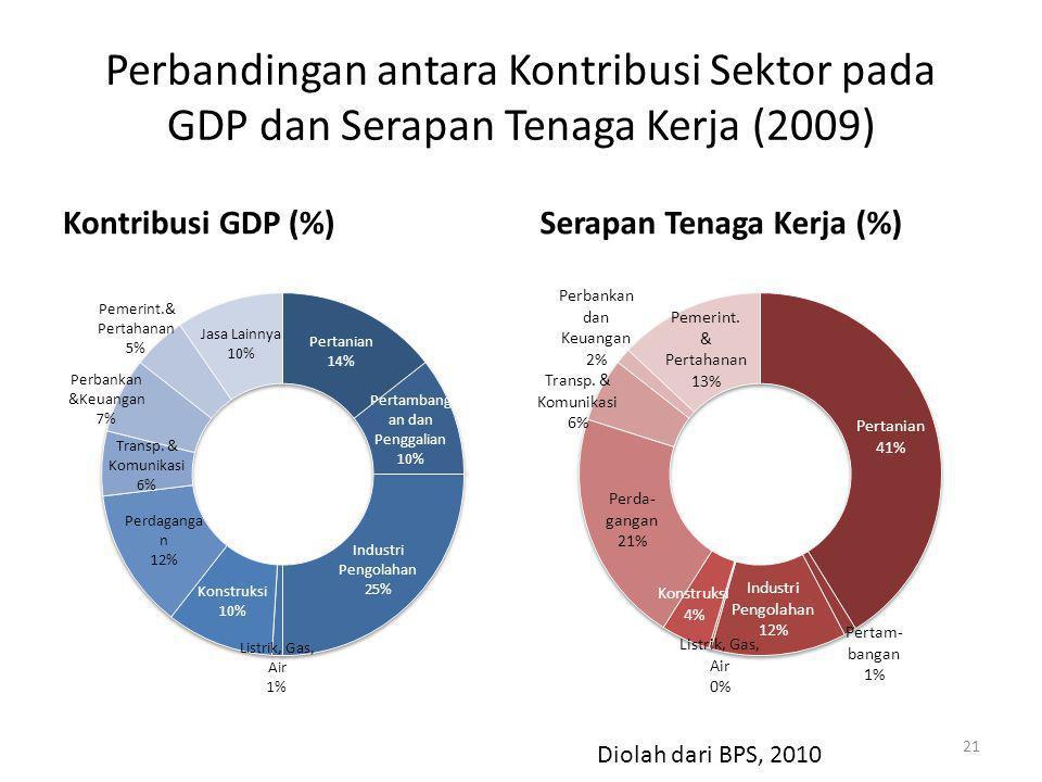Perbandingan antara Kontribusi Sektor pada GDP dan Serapan Tenaga Kerja (2009) Kontribusi GDP (%)Serapan Tenaga Kerja (%) 21 Diolah dari BPS, 2010
