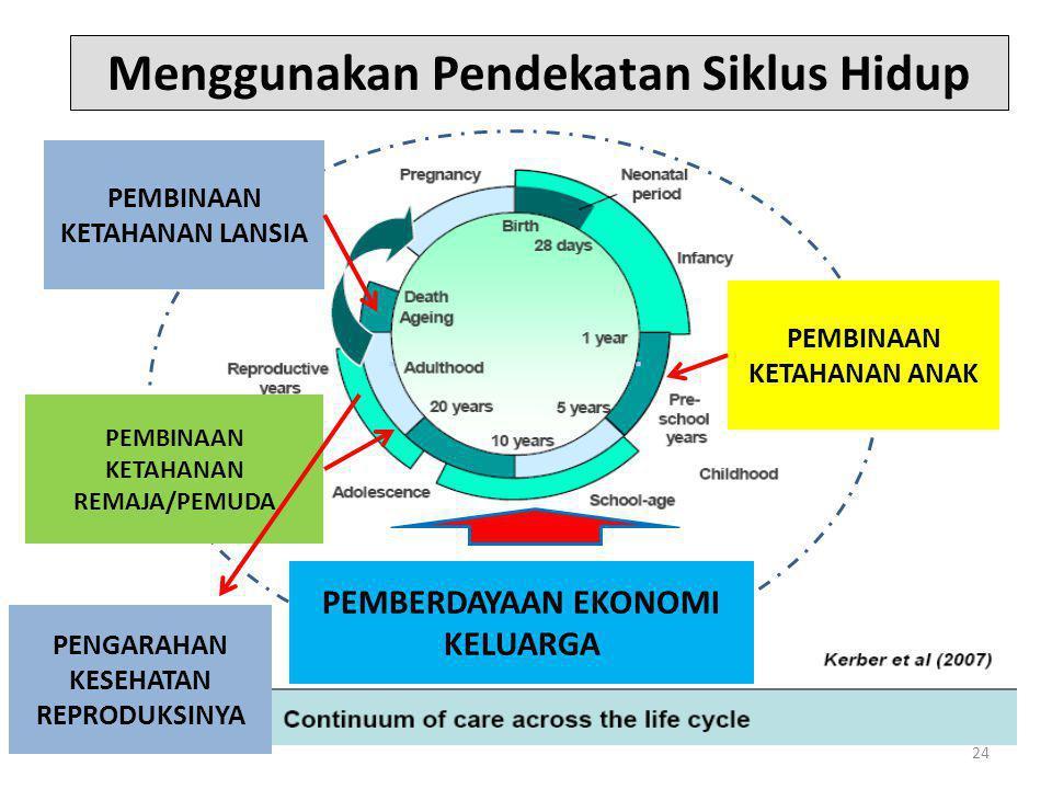 24 PEMBINAAN KETAHANAN REMAJA/PEMUDA Menggunakan Pendekatan Siklus Hidup PEMBERDAYAAN EKONOMI KELUARGA PEMBINAAN KETAHANAN ANAK PEMBINAAN KETAHANAN LANSIA PENGARAHAN KESEHATAN REPRODUKSINYA