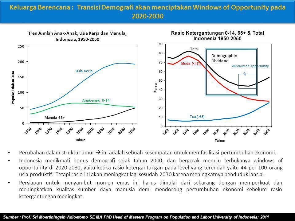 Keluarga Berencana : Transisi Demografi akan menciptakan Windows of Opportunity pada 2020-2030 Perubahan dalam struktur umur  ini adalah sebuah kesempatan untuk memfasilitasi pertumbuhan ekonomi.