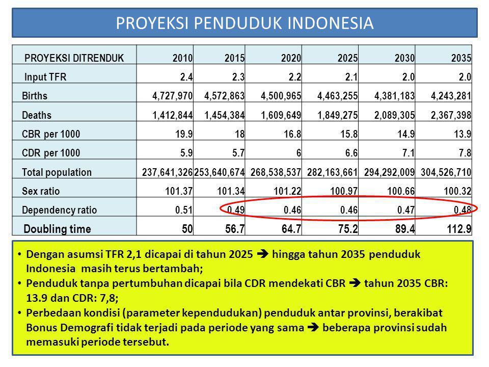Dengan asumsi TFR 2,1 dicapai di tahun 2025  hingga tahun 2035 penduduk Indonesia masih terus bertambah; Penduduk tanpa pertumbuhan dicapai bila CDR