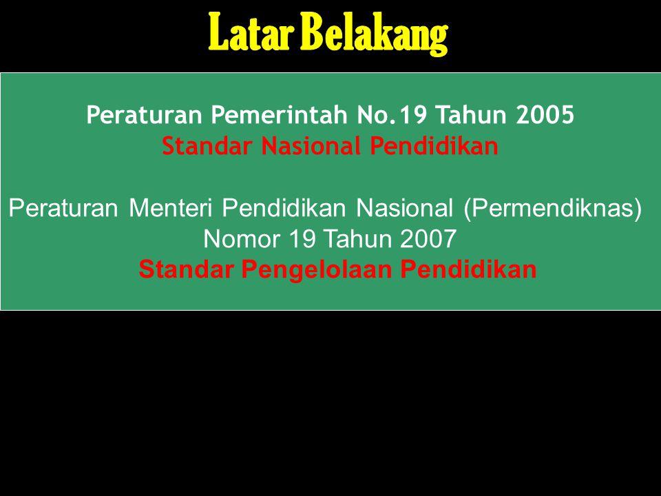 Peraturan Pemerintah No.19 Tahun 2005 Standar Nasional Pendidikan Peraturan Menteri Pendidikan Nasional (Permendiknas) Nomor 19 Tahun 2007 Standar Pen