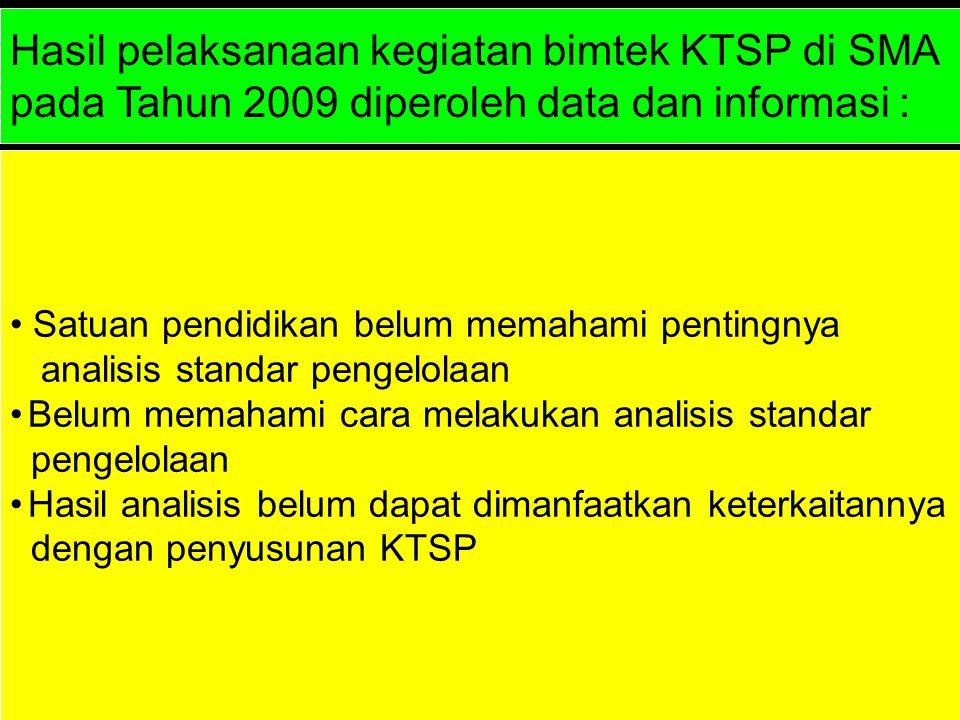 Hasil pelaksanaan kegiatan bimtek KTSP di SMA pada Tahun 2009 diperoleh data dan informasi : Satuan pendidikan belum memahami pentingnya analisis stan