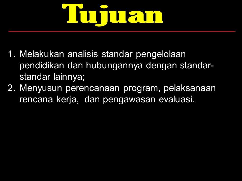 1.Melakukan analisis standar pengelolaan pendidikan dan hubungannya dengan standar- standar lainnya; 2.Menyusun perencanaan program, pelaksanaan renca