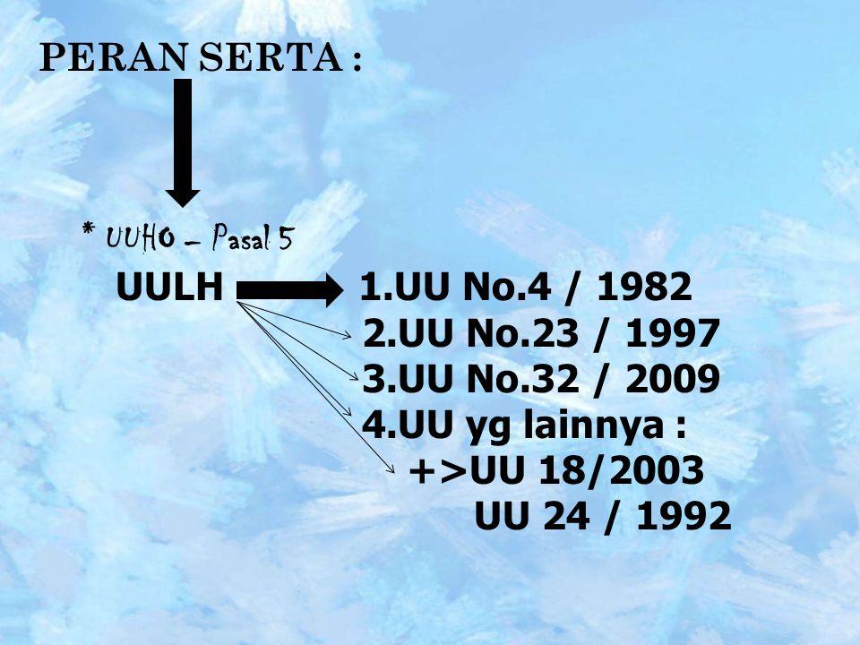 PERAN SERTA : * UUHO – Pasal 5 UULH 1.UU No.4 / 1982 2.UU No.23 / 1997 3.UU No.32 / 2009 4.UU yg lainnya : +>UU 18/2003 UU 24 / 1992