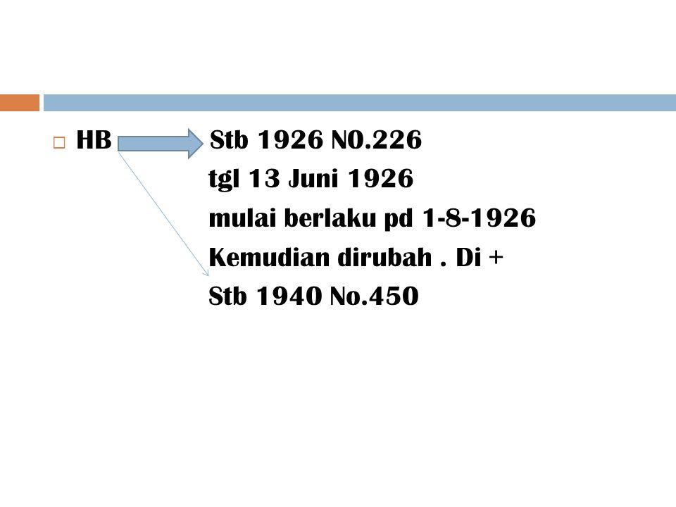  HB Stb 1926 N0.226 tgl 13 Juni 1926 mulai berlaku pd 1-8-1926 Kemudian dirubah. Di + Stb 1940 No.450