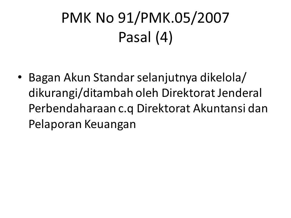 PMK No 91/PMK.05/2007 Pasal (4) Bagan Akun Standar selanjutnya dikelola/ dikurangi/ditambah oleh Direktorat Jenderal Perbendaharaan c.q Direktorat Aku