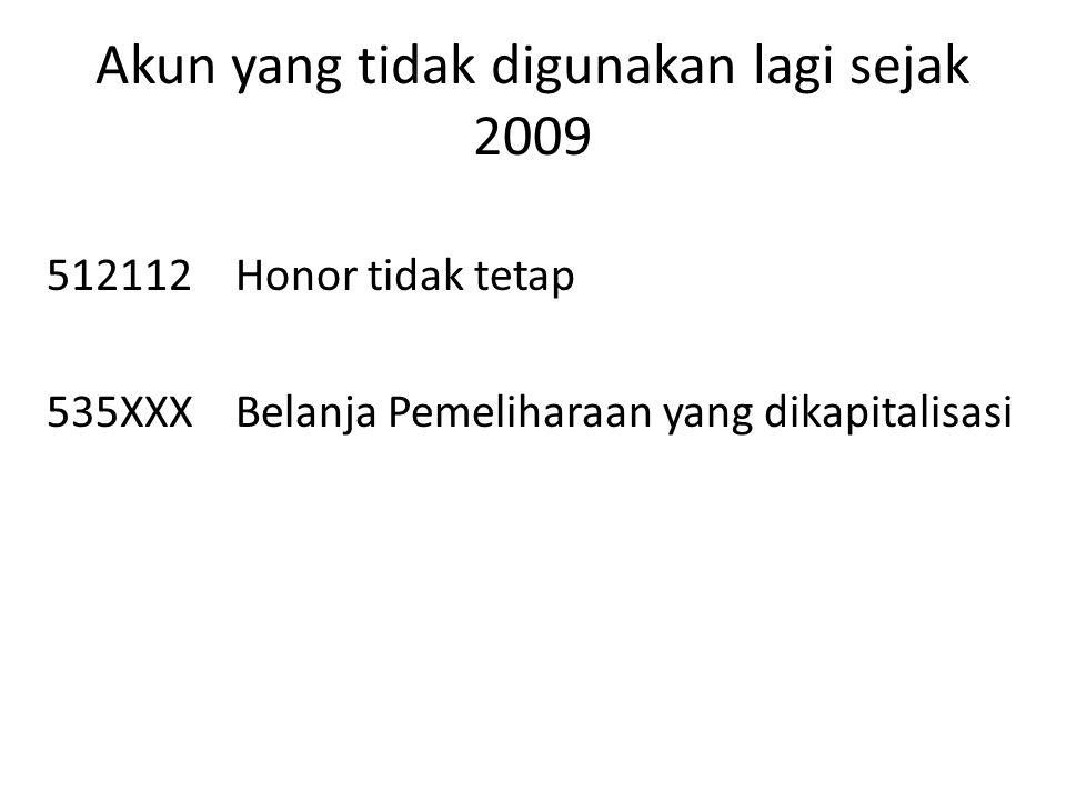 Akun yang tidak digunakan lagi sejak 2009 512112Honor tidak tetap 535XXXBelanja Pemeliharaan yang dikapitalisasi