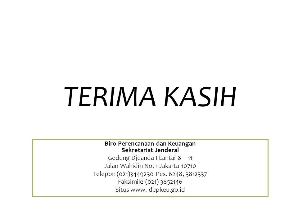 TERIMA KASIH Biro Perencanaan dan Keuangan Sekretariat Jenderal Gedung Djuanda I Lantai 8—11 Jalan Wahidin No.