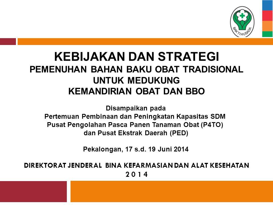 OUTLINE  Landasan Hukum  Kebijakan Nasional  Kebijakan Obat Tradisional Nasional  Kondisi Obat Tradisional di Indonesia  Upaya Pengembangan Obat Tradisional  Pusat Pengolahan Pasca Panen Tanaman Obat dan Pusat Ekstrak Daerah  Penutup