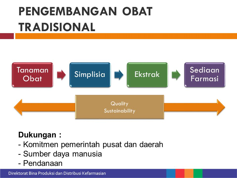 PENGEMBANGAN OBAT TRADISIONAL Tanaman Obat SimplisiaEkstrak Sediaan Farmasi Dukungan : - Komitmen pemerintah pusat dan daerah - Sumber daya manusia - Pendanaan