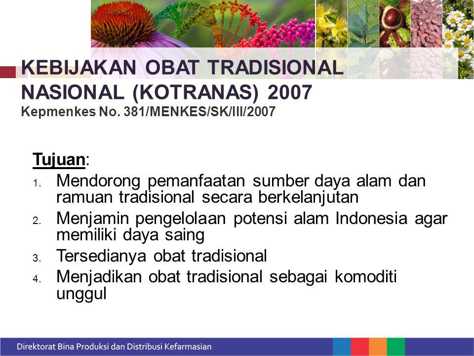 Perlunya upaya kemandirian di bidang bahan baku obat dan obat tradisional Indonesia melalui pemanfaatan keanekaragaman hayati (Roadmap Reformasi Kesehatan 2010 – 2014) TUJUAN :  Dapat diterima di pelayanan kesehatan  Mensejahterakan rakyat