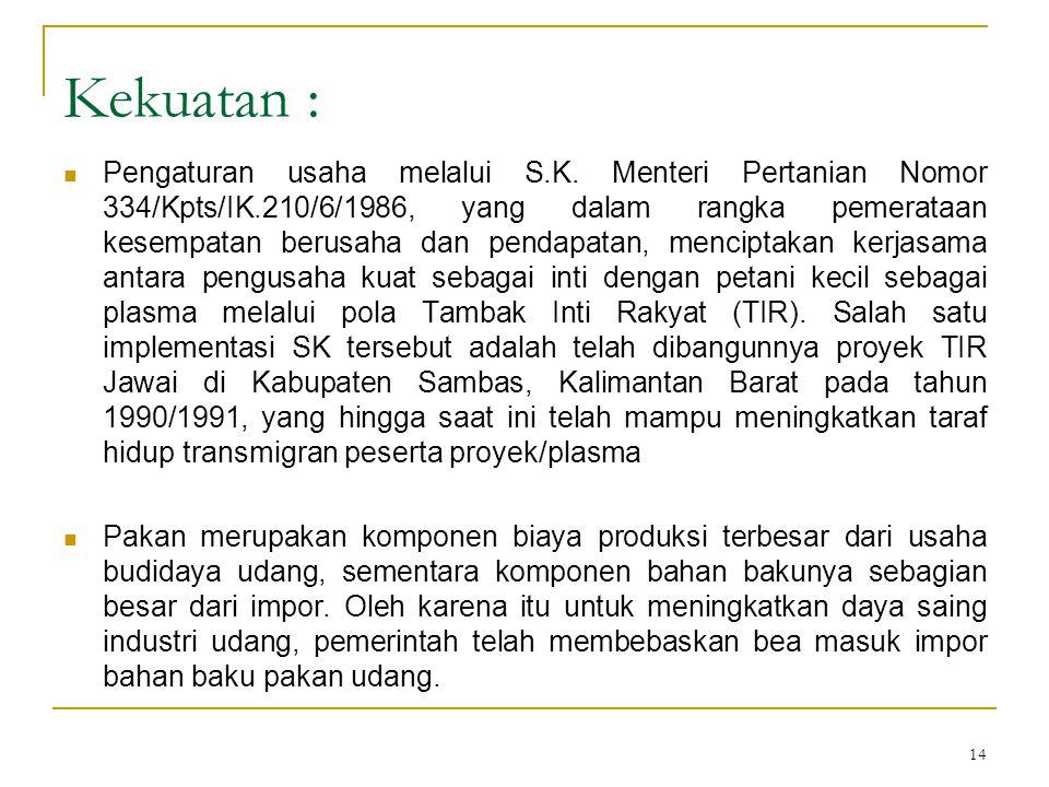 14 Kekuatan : Pengaturan usaha melalui S.K. Menteri Pertanian Nomor 334/Kpts/IK.210/6/1986, yang dalam rangka pemerataan kesempatan berusaha dan penda