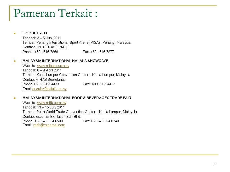 22 Pameran Terkait : IFOODEX 2011 Tanggal: 3 – 5 Juni 2011 Tempat: Penang International Sport Arena (PISA)– Penang, Malaysia Contact : INTRENASIONALE