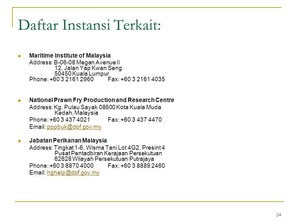 24 Daftar Instansi Terkait: Maritime Institute of Malaysia Address: B-06-08 Megan Avenue II 12, Jalan Yap Kwan Seng 50450 Kuala Lumpur Phone: +60 3 21
