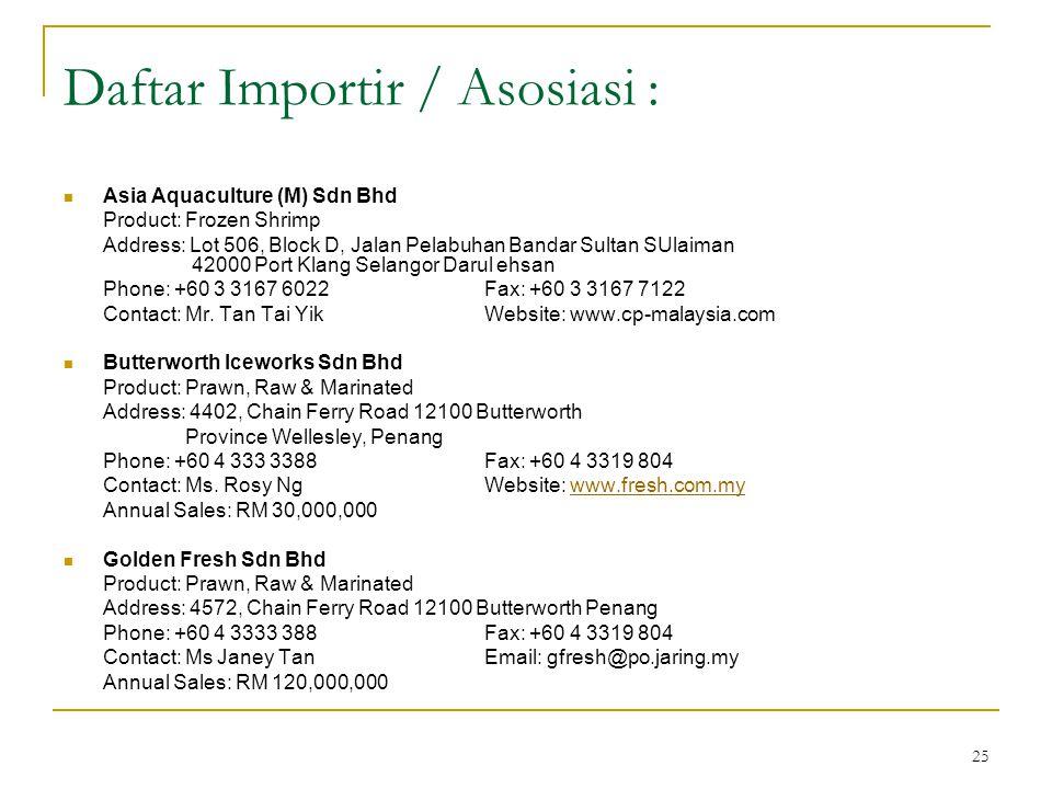 25 Daftar Importir / Asosiasi : Asia Aquaculture (M) Sdn Bhd Product: Frozen Shrimp Address: Lot 506, Block D, Jalan Pelabuhan Bandar Sultan SUlaiman