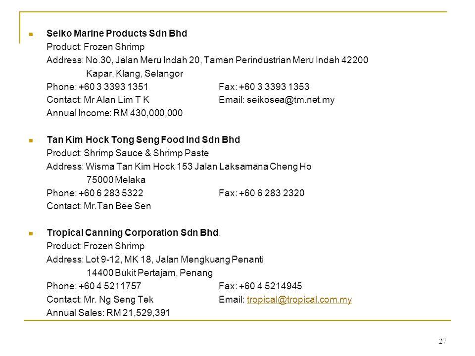 27 Seiko Marine Products Sdn Bhd Product: Frozen Shrimp Address: No.30, Jalan Meru Indah 20, Taman Perindustrian Meru Indah 42200 Kapar, Klang, Selang