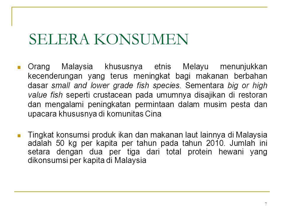 7 SELERA KONSUMEN Orang Malaysia khususnya etnis Melayu menunjukkan kecenderungan yang terus meningkat bagi makanan berbahan dasar small and lower gra