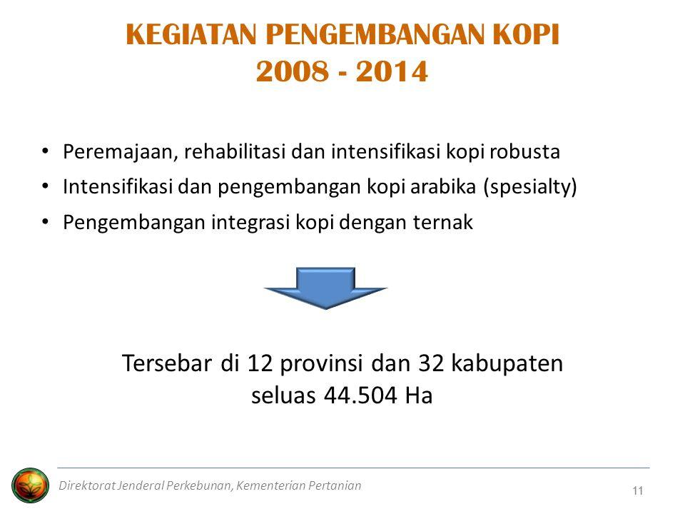 11 KEGIATAN PENGEMBANGAN KOPI 2008 - 2014 Peremajaan, rehabilitasi dan intensifikasi kopi robusta Intensifikasi dan pengembangan kopi arabika (spesial