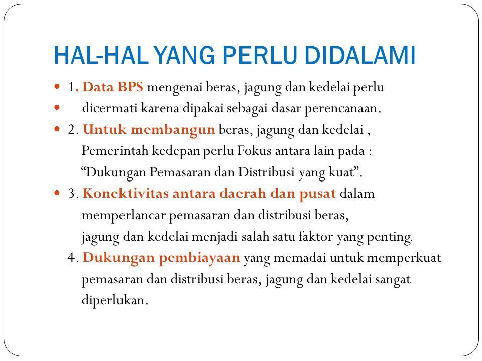 HAL-HAL YANG PERLU DIDALAMI 1. Data BPS mengenai beras, jagung dan kedelai perlu dicermati karena dipakai sebagai dasar perencanaan. 2. Untuk membangu