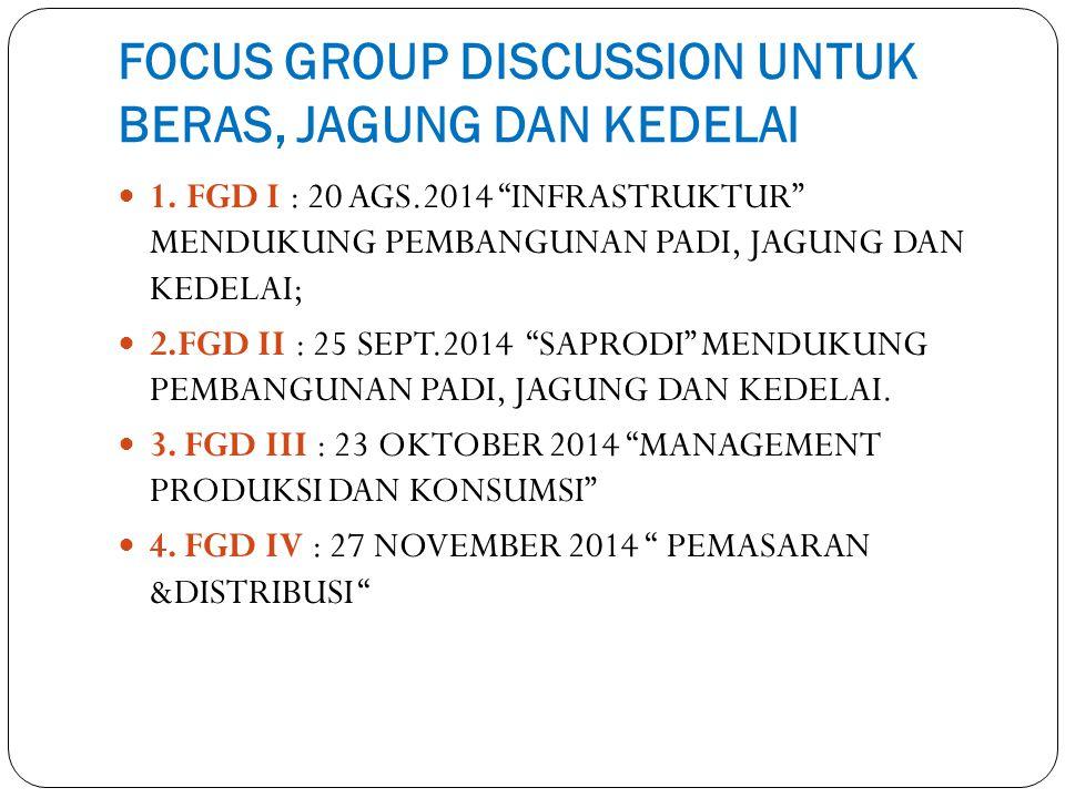 """FOCUS GROUP DISCUSSION UNTUK BERAS, JAGUNG DAN KEDELAI 1. FGD I : 20 AGS.2014 """"INFRASTRUKTUR"""" MENDUKUNG PEMBANGUNAN PADI, JAGUNG DAN KEDELAI; 2.FGD II"""