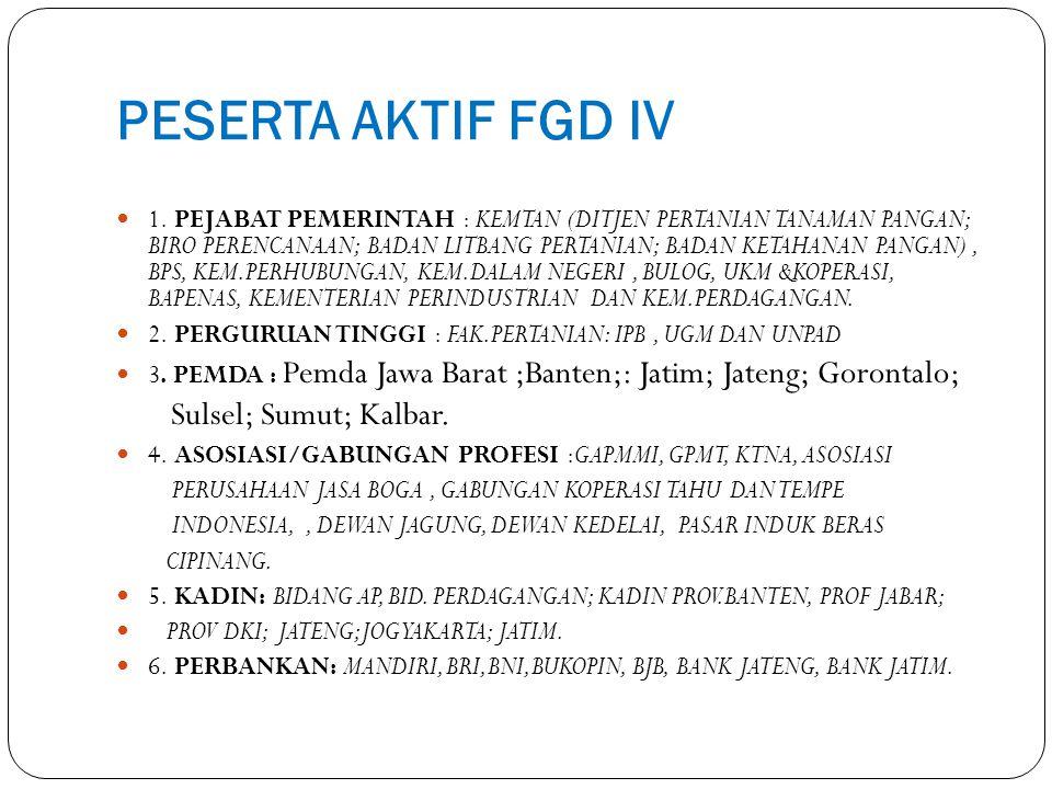 PESERTA AKTIF FGD IV 1. PEJABAT PEMERINTAH : KEMTAN (DITJEN PERTANIAN TANAMAN PANGAN; BIRO PERENCANAAN; BADAN LITBANG PERTANIAN; BADAN KETAHANAN PANGA