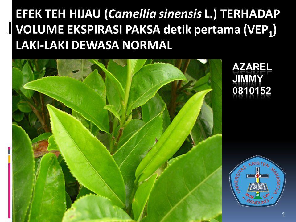 EFEK TEH HIJAU (Camellia sinensis L.) TERHADAP VOLUME EKSPIRASI PAKSA detik pertama (VEP 1 ) LAKI-LAKI DEWASA NORMAL 1